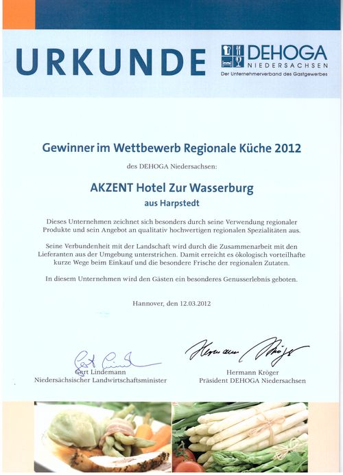 Urkunde_Gewinner_Wettbewerb_Regionale_Kueche_Niedersachsen_2012_Zur_Wasserburg_Harpstedt
